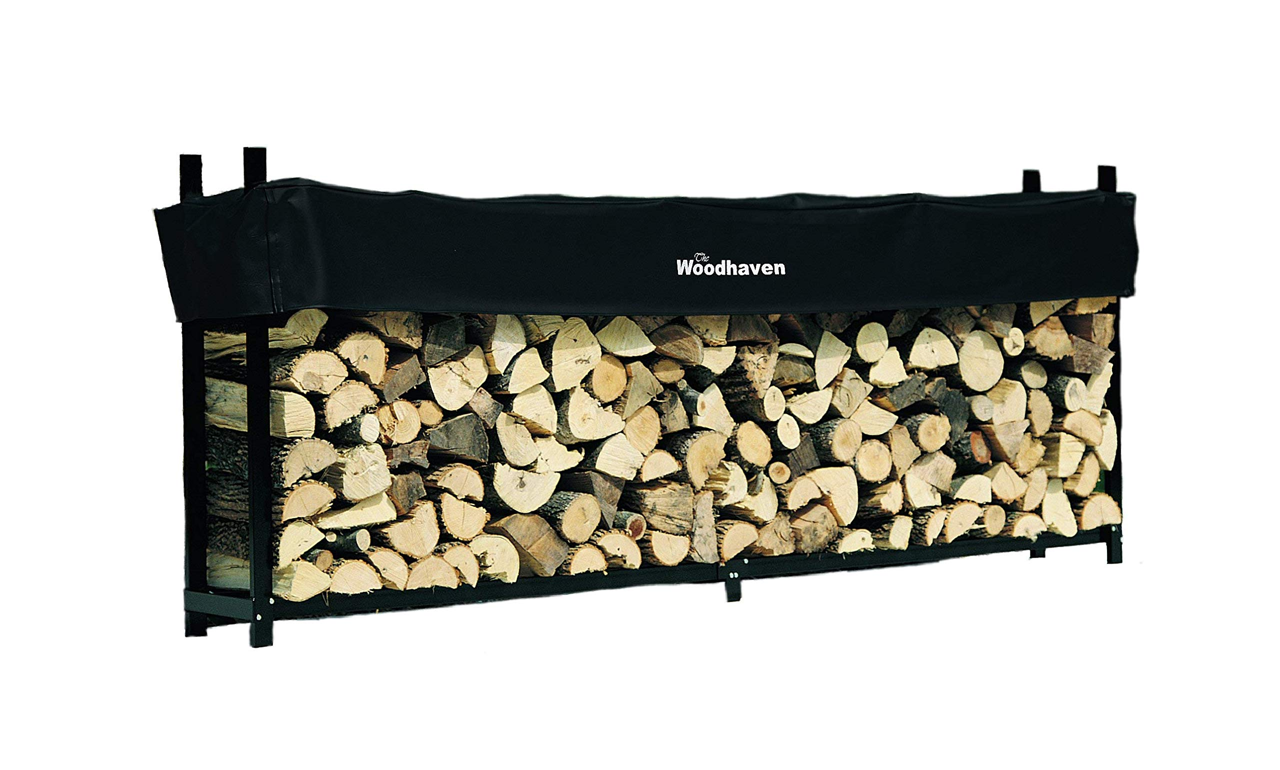Woodhaven 10 Foot Firewood Log Rack with Cover by Woodhaven