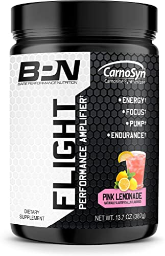 Bare Performance Nutrition, Flight Pre Workout, Energy, Focus Endurance, Formulated with Caffeine Anhydrous, DiCaffeine Malate, N-Acetyl Tyrosine Pink Lemonade