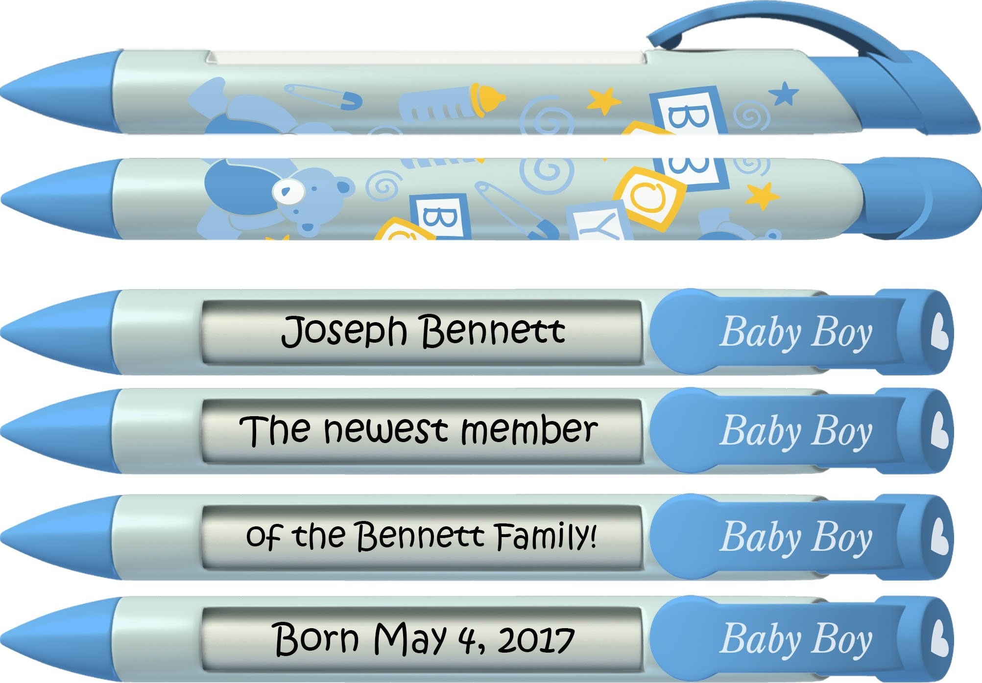 Baby Pen by Greeting Pen- Personalized Baby Shower Favor / Invitation and Birth Annoucement Pens - Baby Boy Blocks Rotating Message Pen 50 pack (P-BP-21-50) by Greeting Pen (Image #2)