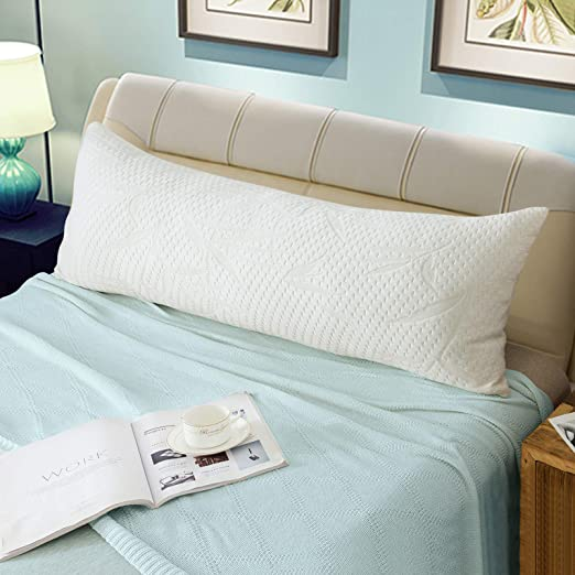 WhatsBedding Full Body Pillows with Pillowcase -Removable Zippered Bamboo Cover Breathable Cooling Body Pillow Long Pillow for Side Sleeper-White 20 x 54 inch