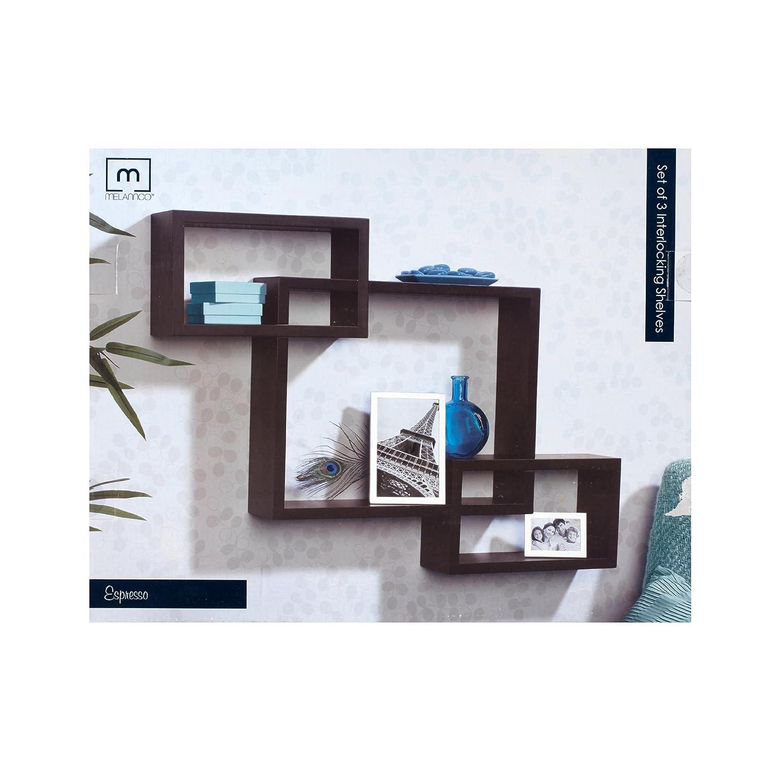 Amazon.com: Melannco Interlocking Shelves (Espresso, Set of 3 ...