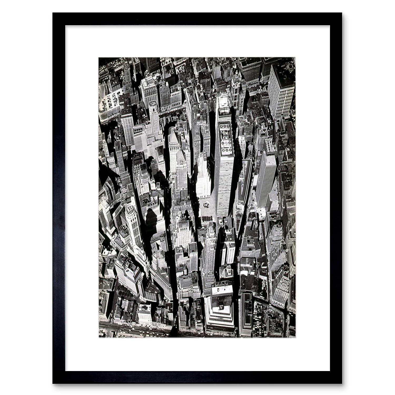 Amazon com black white photography aerial view manhattan city new york framed art print b12x6949 posters prints