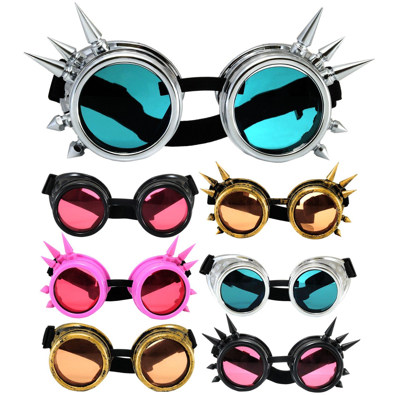 4sold Steampunk Rosa con Picos cibernéticos de Cobre Plata Cyber Goth Rave Gafas Sol Plus como Victoriano Vintage Clara Adicional Lentes