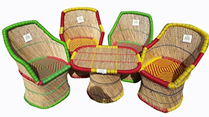 Ecowoodies Arboreum Handicraft Cane Sitting Stool Chair Furniture Set