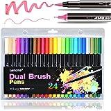 Pennarelli Brush Pens/Bullet Journal Pens - Pennarelli a Punta Fine per Libri da Colorare e Diapositiva a Proiettile, Pennarelli per Pennarelli, 24 Colori Brillanti