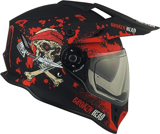 Broken Head Jack S Vx2 Rot Enduro Cross Helm Motorrad Helm Mit Visier Sonnenblende Größe M 57 58 Cm Auto