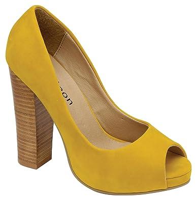 2af167bbe40 Odeon LADIES MUSTARD SEXY CHUNKY BLOCK HIGH HEEL PEEP TOE PLATFORM SHOES  SIZE 7 UK 40 EUR  Amazon.co.uk  Shoes   Bags