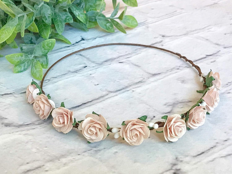 Amazon.com  Blush Pink Flower Crown Bridal Flower Crown Floral Crown  Bachelorette Flower Crown Flower Headband Wedding Crown Flower Crown  Bridal  Handmade f02b0f3a053