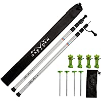 GARDEN V PRO Telescoping Tarp Poles - Replacement Canopy Adjustable Aluminum Rods, Portable, Lightweight for Tent Fly, Awning, Outdoor Camping, Hiking, Backpacking, Rainfly