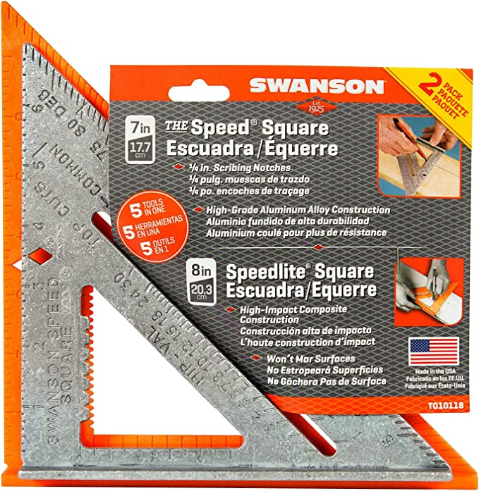 2 Pack Swanson Tool S0101 7-inch Speed Square Layout Tool with Blue Book