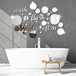 30 Pieces Bathroom Wall Decals Wash Flush Brush Floss Stickers 3D Round Mirrors Wall Art Decal Self Adhesive DIY Acrylic Mirror Decor Beautiful Art Words Decor for Home Bedroom Living Room (Silver)
