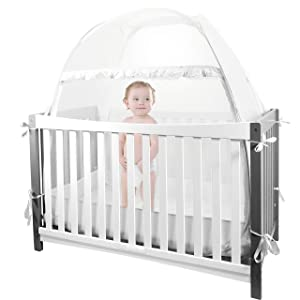 """Baby Crib Safety Pop Up Tent, 55"""" x 51"""" x 27"""" Crib Canopy Protect Baby from Crib Rails, Baby Bed Netting Crib Tent Cover to Keep Baby from Climbing Out - See Through Mesh Nursery Mosquito Net"""