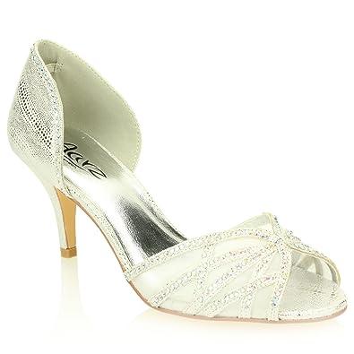 77be5841b AARZ LONDON Women Ladies Evening Wedding Party Medium Kitten Heel Diamante  Peep Toe Bridal Sandal Shoes