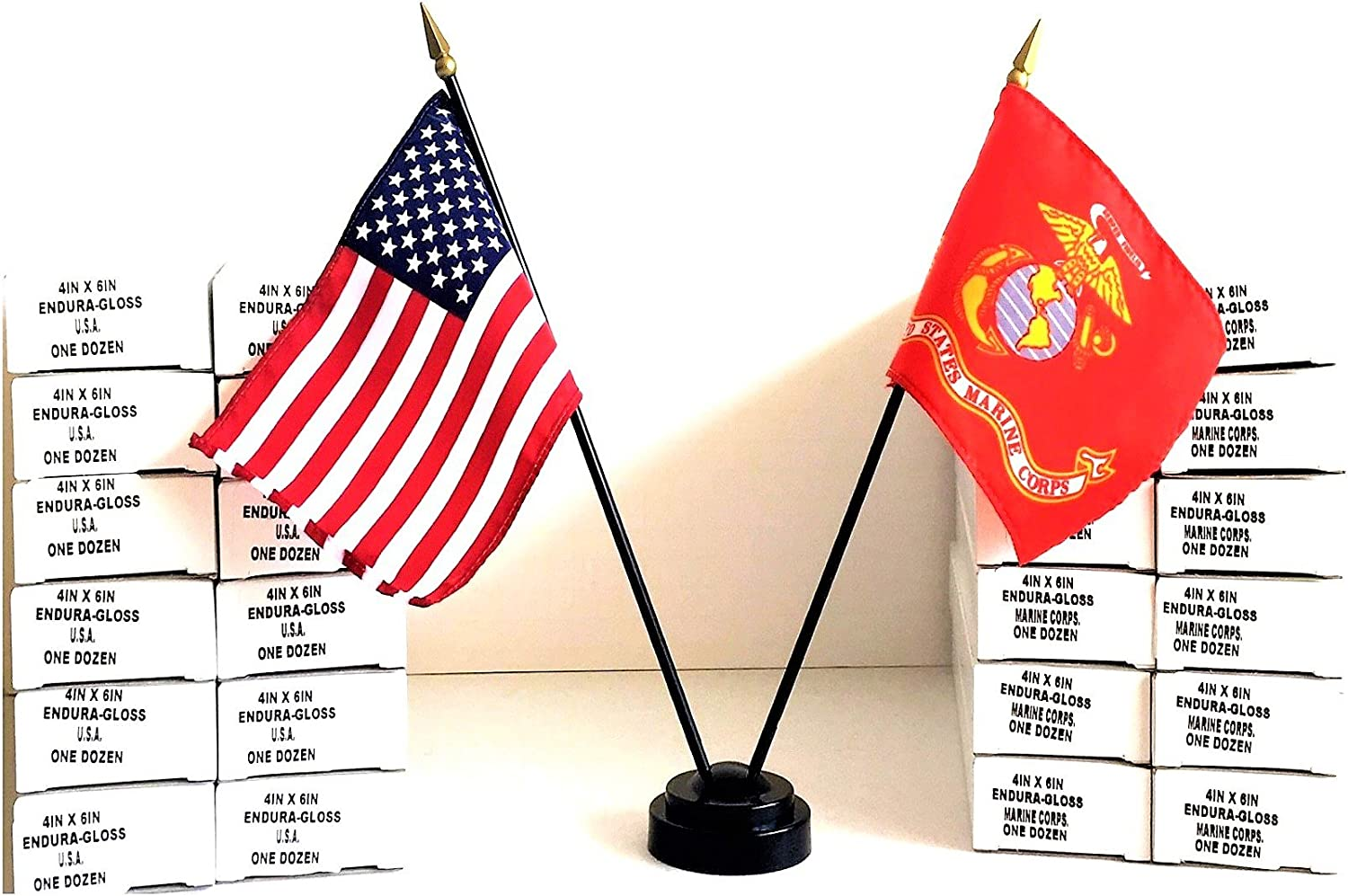 """Wholesale Made in The USA!! 144 American and 144 United States Marine Corps Rayon 4""""x6"""" Office Desk & Little Hand Waving Table Flag, Includes 144 2-Hole Flag Stand & 288 Small 4""""x6"""" Mini Stick Flags"""