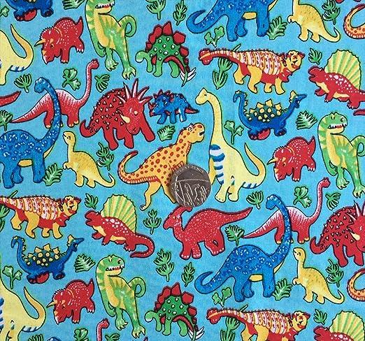 Dinosaurios en color azul de los niños infantil 100% tela de ...