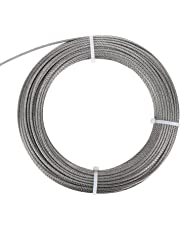 DasMarine Stainless Aircraft Steel Wire Rope Cable For Railing,Decking, DIY Balustrade, 1/8Inch,7x7,164Feet