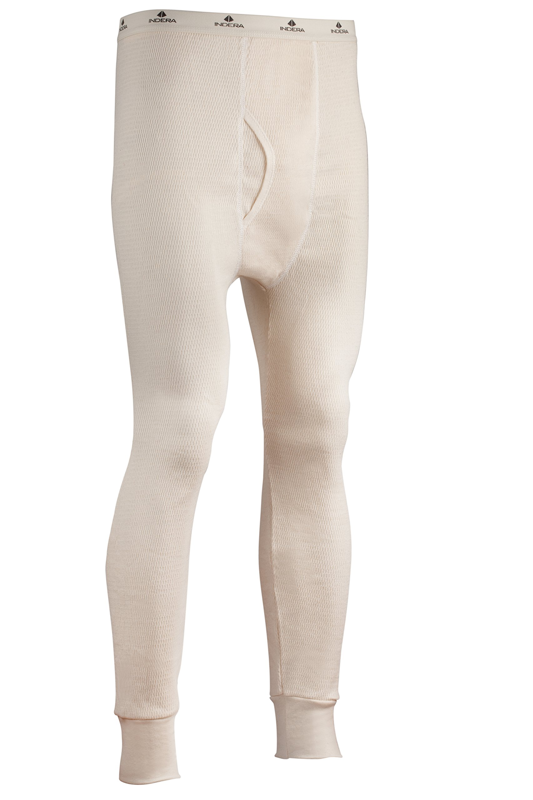 Indera Men's Expedition Weight Cotton Raschel Knit Thermal Underwear Pant, Natural, Large by Indera