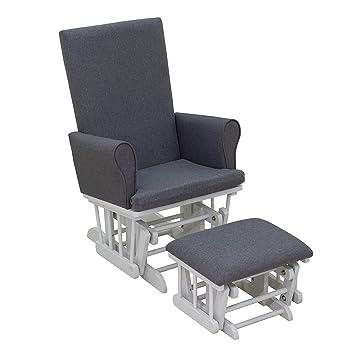 Magnificent Homcom 2 Piece Rubberwood Glider Rocking Chair With Ottoman Set Grey Inzonedesignstudio Interior Chair Design Inzonedesignstudiocom