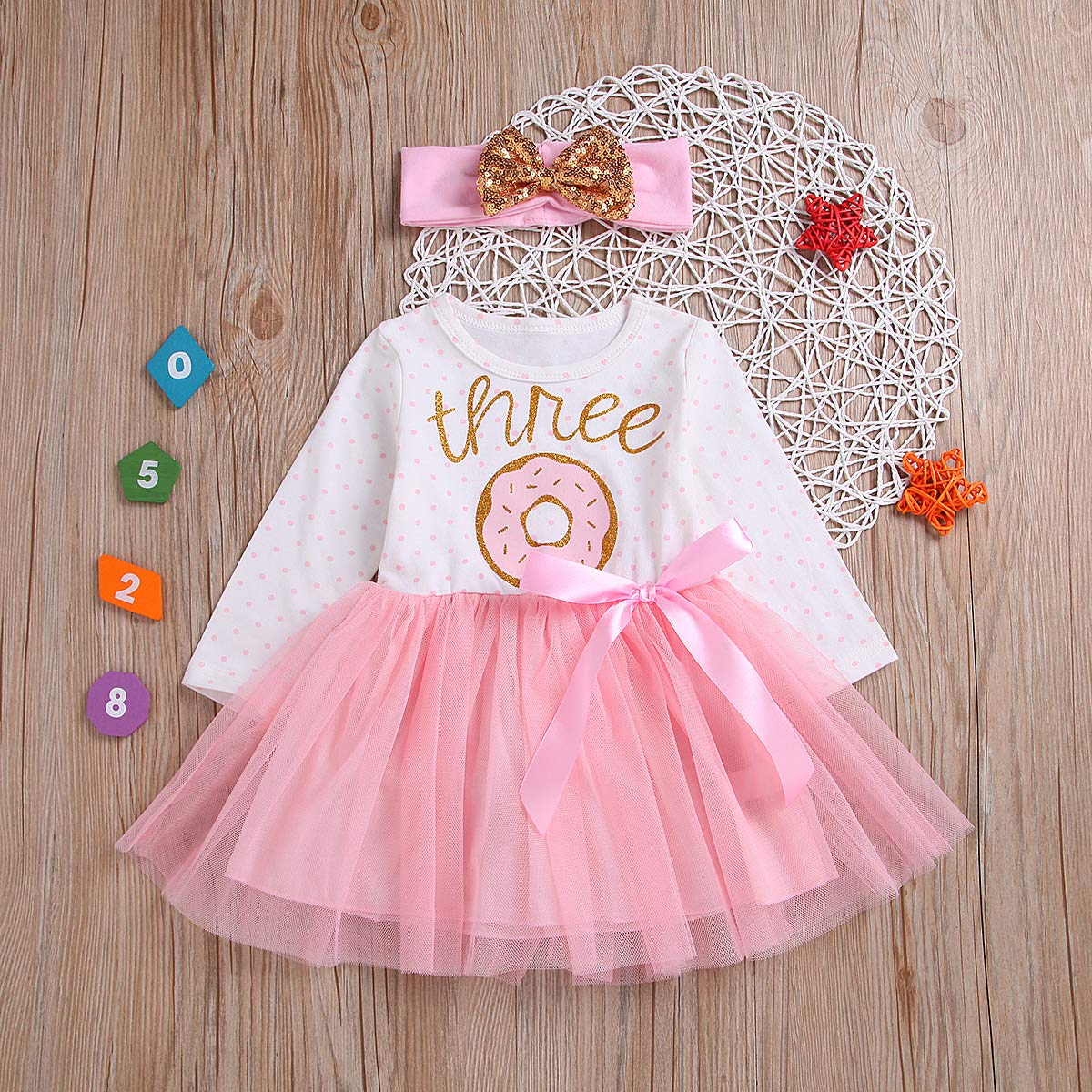 2Pcs Baby Girls Tutu Dress 1st Birthday Sleeveless Stripe Donut Romper Top Lace Skirt with Headband Outfit Summer Clothes