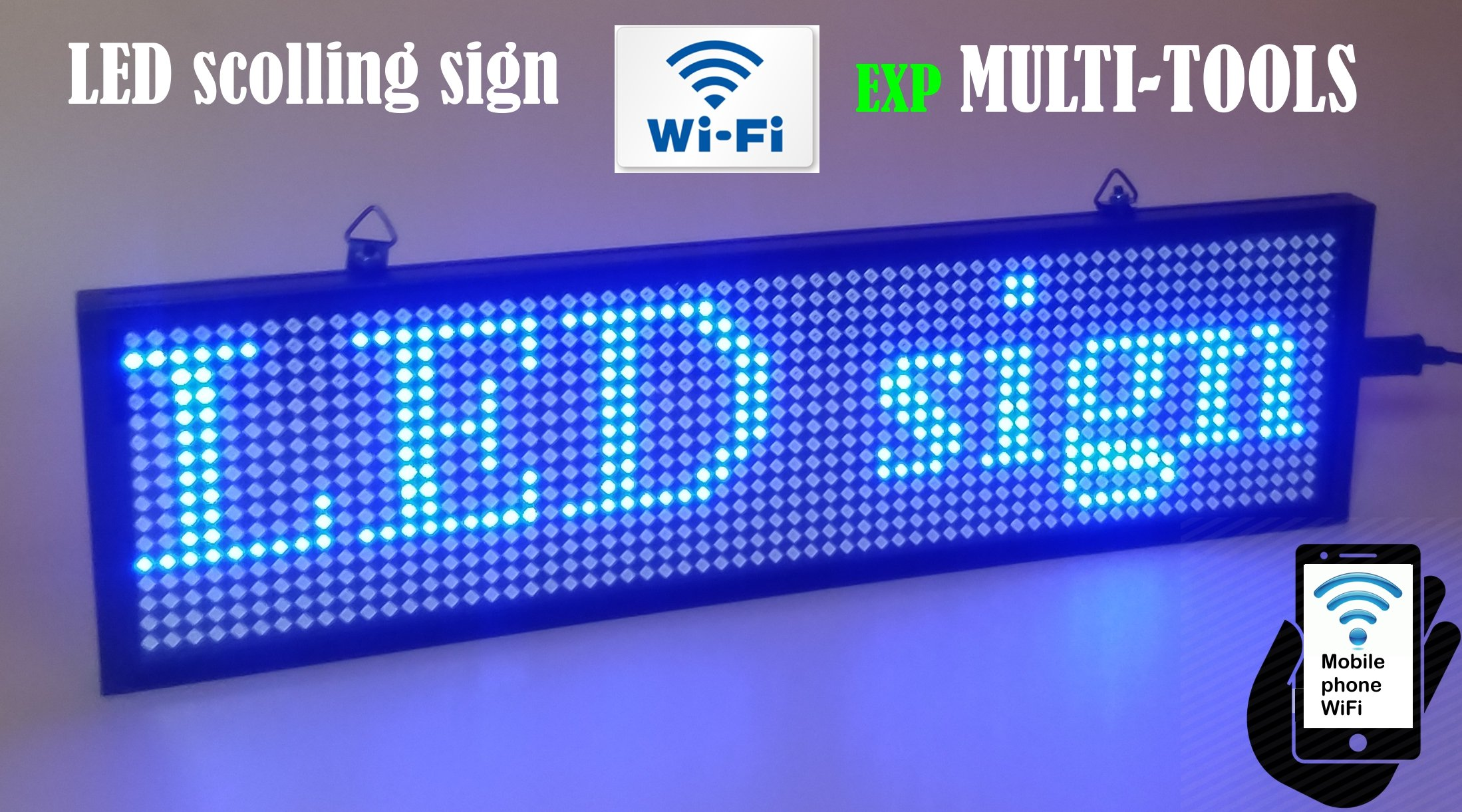 LED Display Blue Color with WiFi Connection, LED Scrolling Message Sign, Bright and in New Light auminum housing 13.5'' Lenght