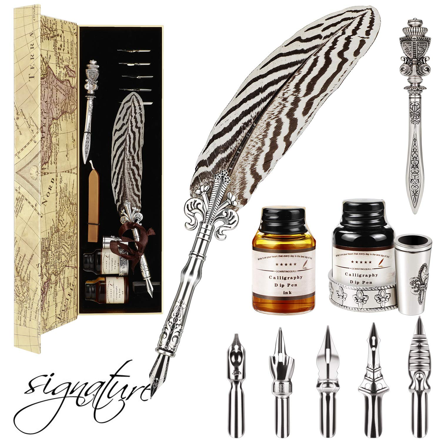 Gcquill Feather Quill Pen Set Dip Pen Antique Feather Pen Writing Quill with 2 Bottle Ink 5 Steel Nibs 1 Envelope Knife Calligraphy Pen with Feather Best Gift for Christmas by EXTSUD
