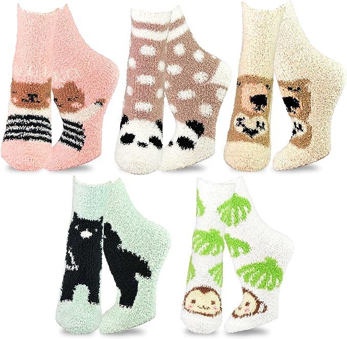 TeeHee Fashionable Cozy Fuzzy Slipper Women's Value Multi Pair Crew Socks