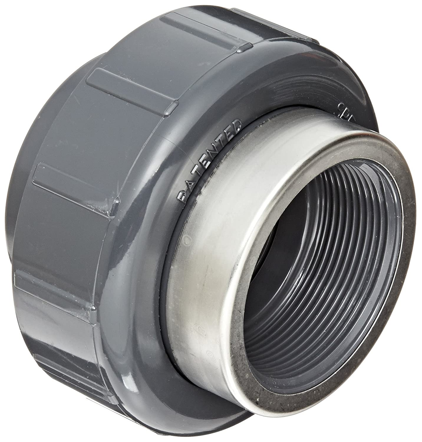 Spears 8059-SR Series PVC Pipe Fitting, Union with Viton O-Ring, Schedule 80, Gray, 1 Socket x Stainless Steel Reinforced NPT Female Spears Manufacturing