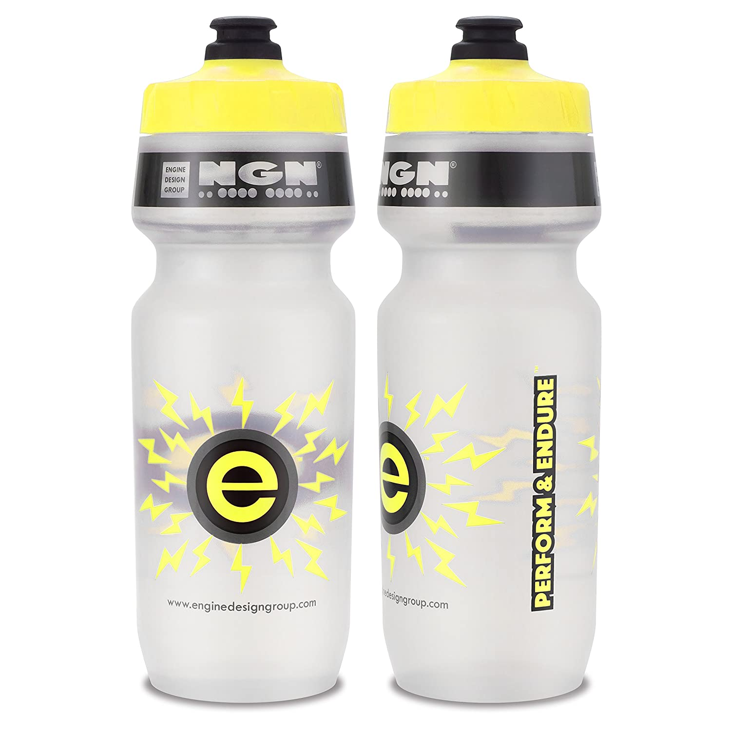 Engine Design Group NGN Sport – High Performance Bicycle Bike Water Bottle for Triathlon, MTB, and Road Cycling – 24 oz Clear Yellow 2-Pack