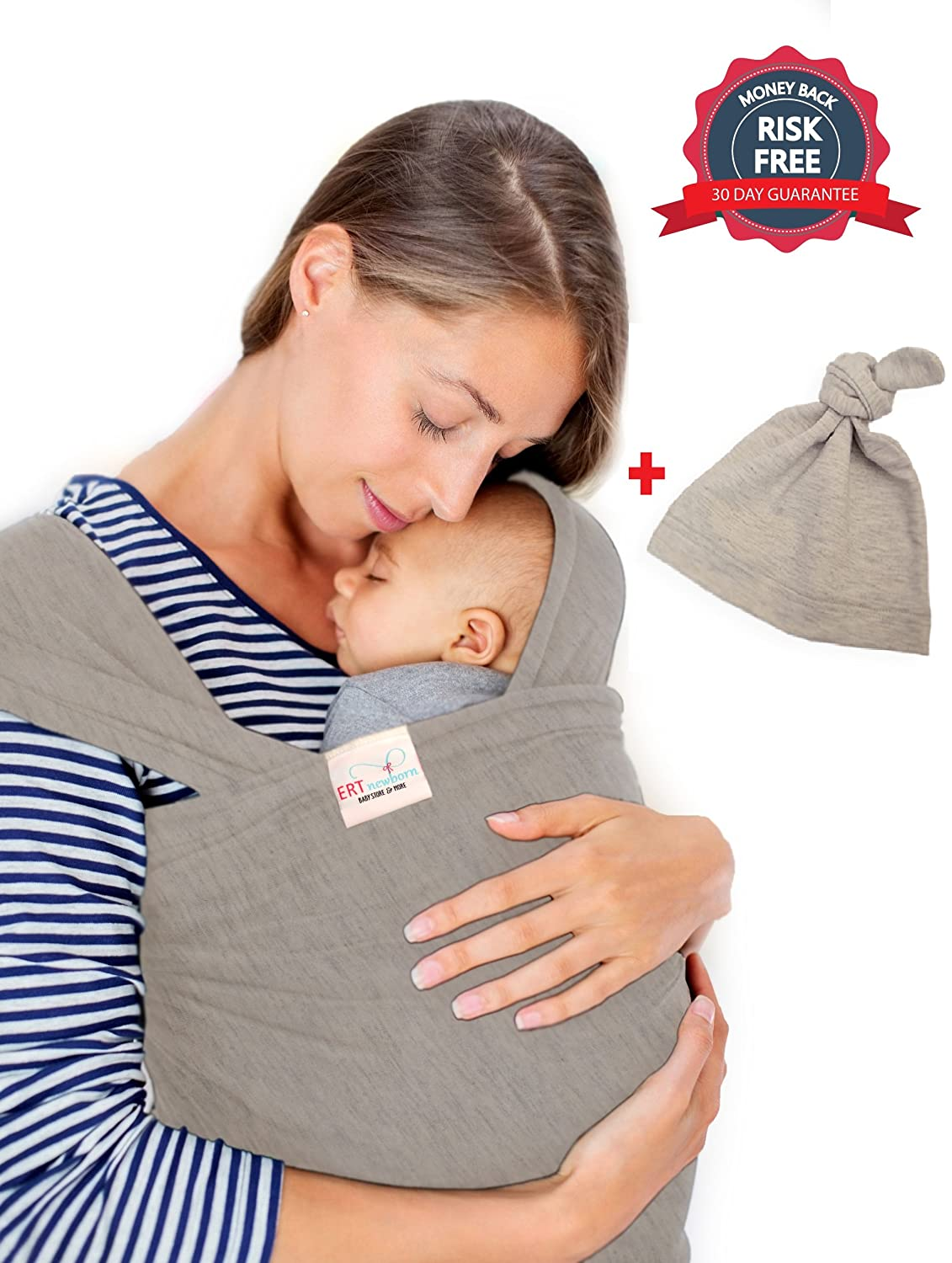 Amazon Com Baby Sling Wrap Carrier By Ert Grey Baby Hat