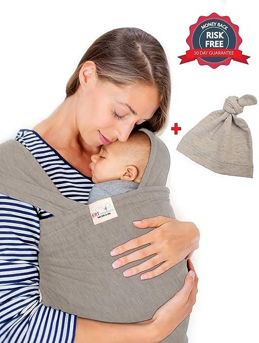 Amazon.com: Bebé Sling Wrap Carrier por ERT (Gris) – Gorro ...