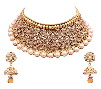 YouBella Jewellery Bollywood Ethnic Gold Plated Traditional Indian Necklace Set with Earrings for Women  sc 1 st  Amazon.com : gold plated indian jewelry sets - pezcame.com