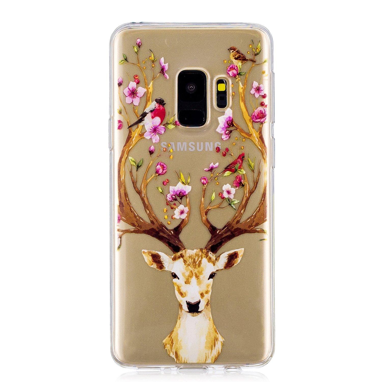 Galaxy S9+ Case, For [S9 Plus], MerKuyom Lightweight [Clear Crystal Transparent] Slim-Fit Flexible Gel Soft TPU Case Cover For Samsung Galaxy S9 Plus / S9+, W/ Stylus (Flower Deer)