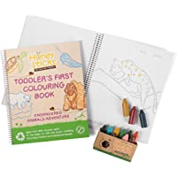 Honeysticks 100% Pure Beeswax Crayons and Colouring Book Pack - Large, Easy to Hold, Non Toxic Crayons (12 Pack) PLUS a…