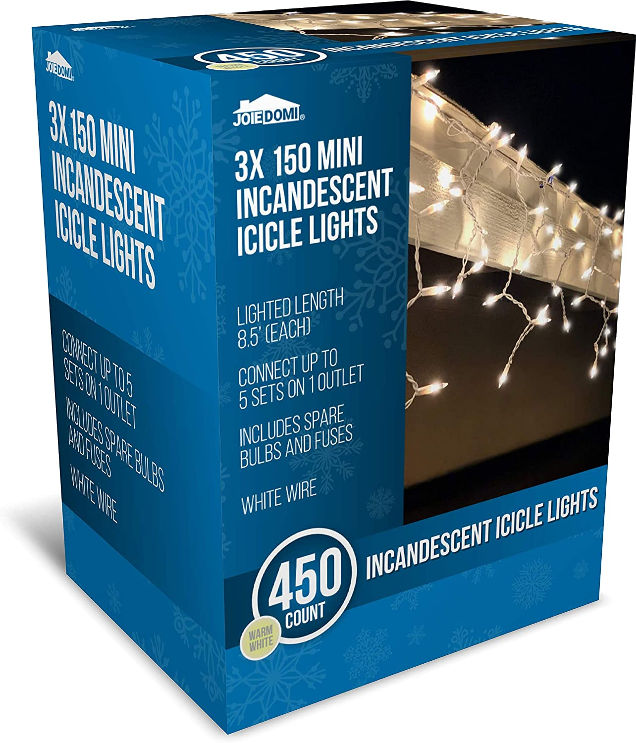Joiedomi 3 Packs of 150 Incandescent Christmas Icicle Lights for Indoor & Outdoor Decorations, Christmas Events, Christmas Eve Night Decor, Christmas Tree, Eaves (Warm White)