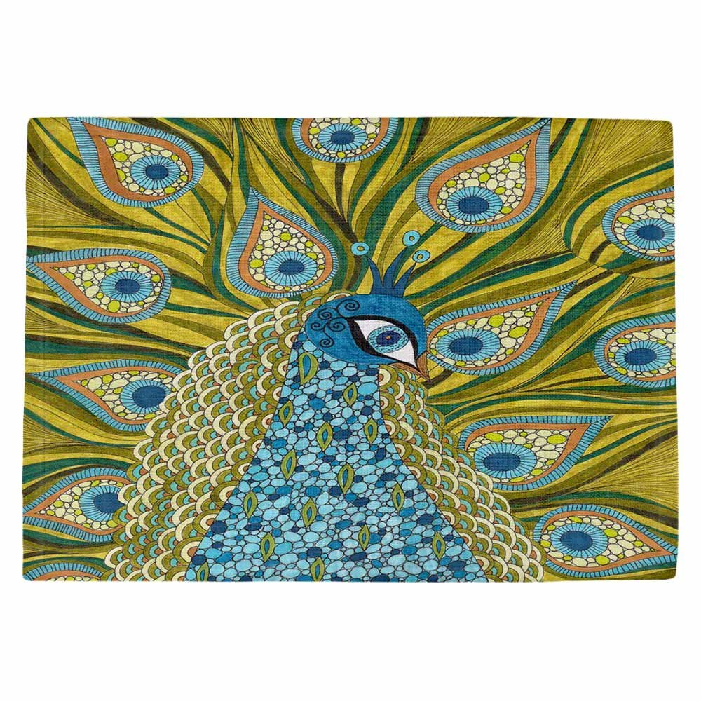 DIANOCHEキッチンPlaceマットby Valerie Lorimer – The Peacock Set of 4 Placemats PM-ValerieLorThePeacock2 Set of 4 Placemats  B01EXSIZII