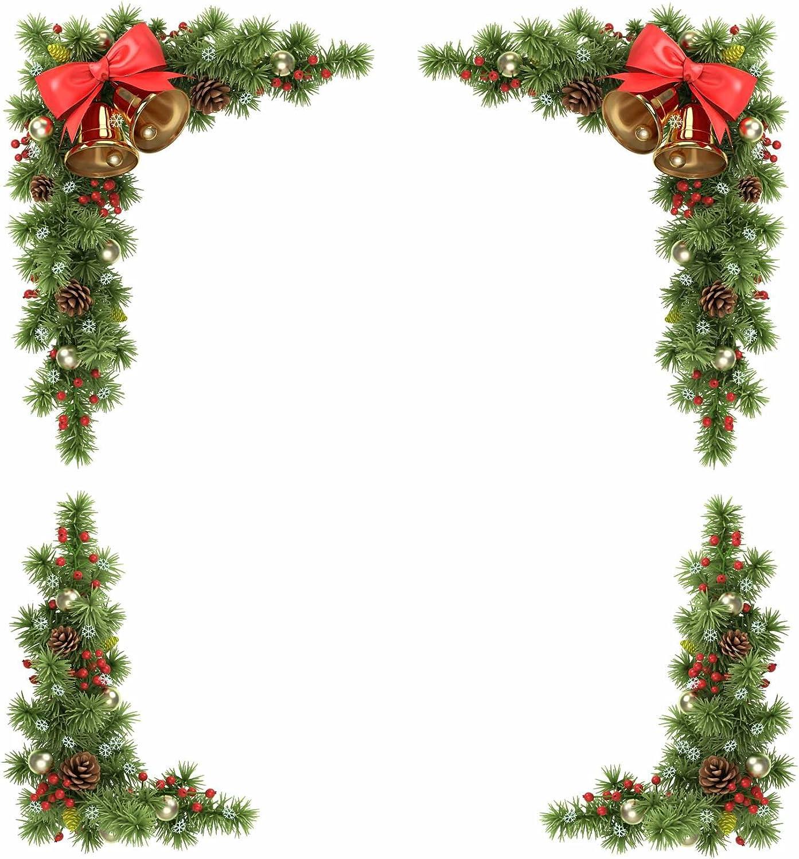 Sticker4, decorazione natalizia angolare per finestra raffigurante conifere, pigne, campanelle, Small (Set of 4 Corners) Stickers4