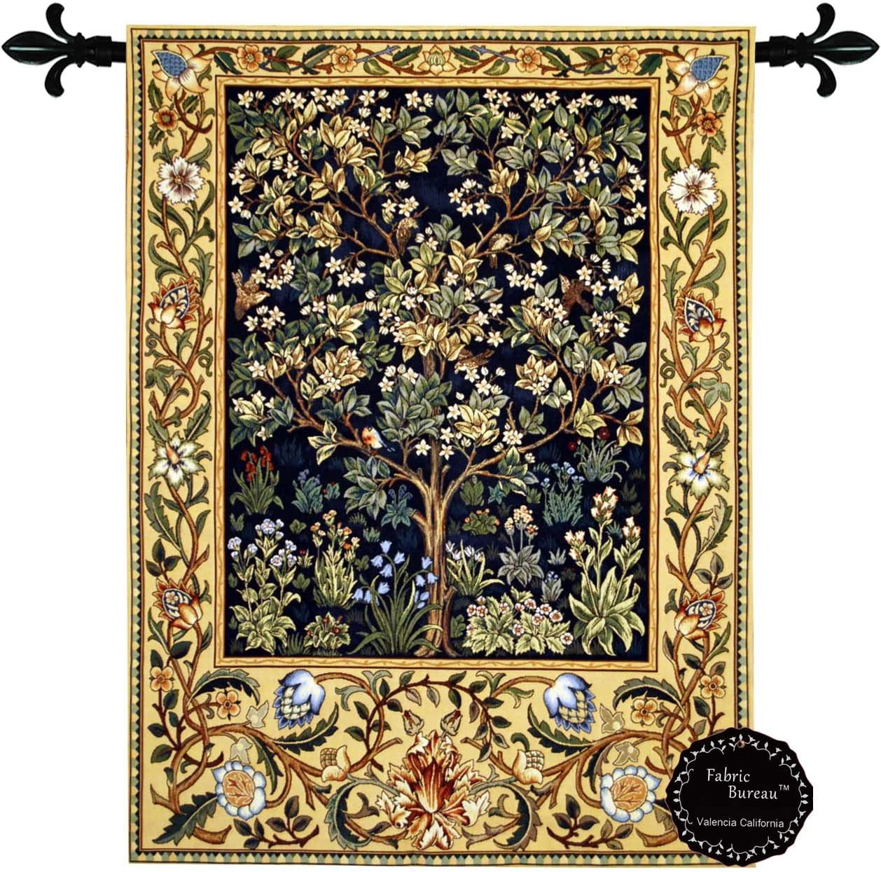 Tree of Life By William Morris Lined Jacquard Tapestry Wallhanging 27 W x 35 L Multi
