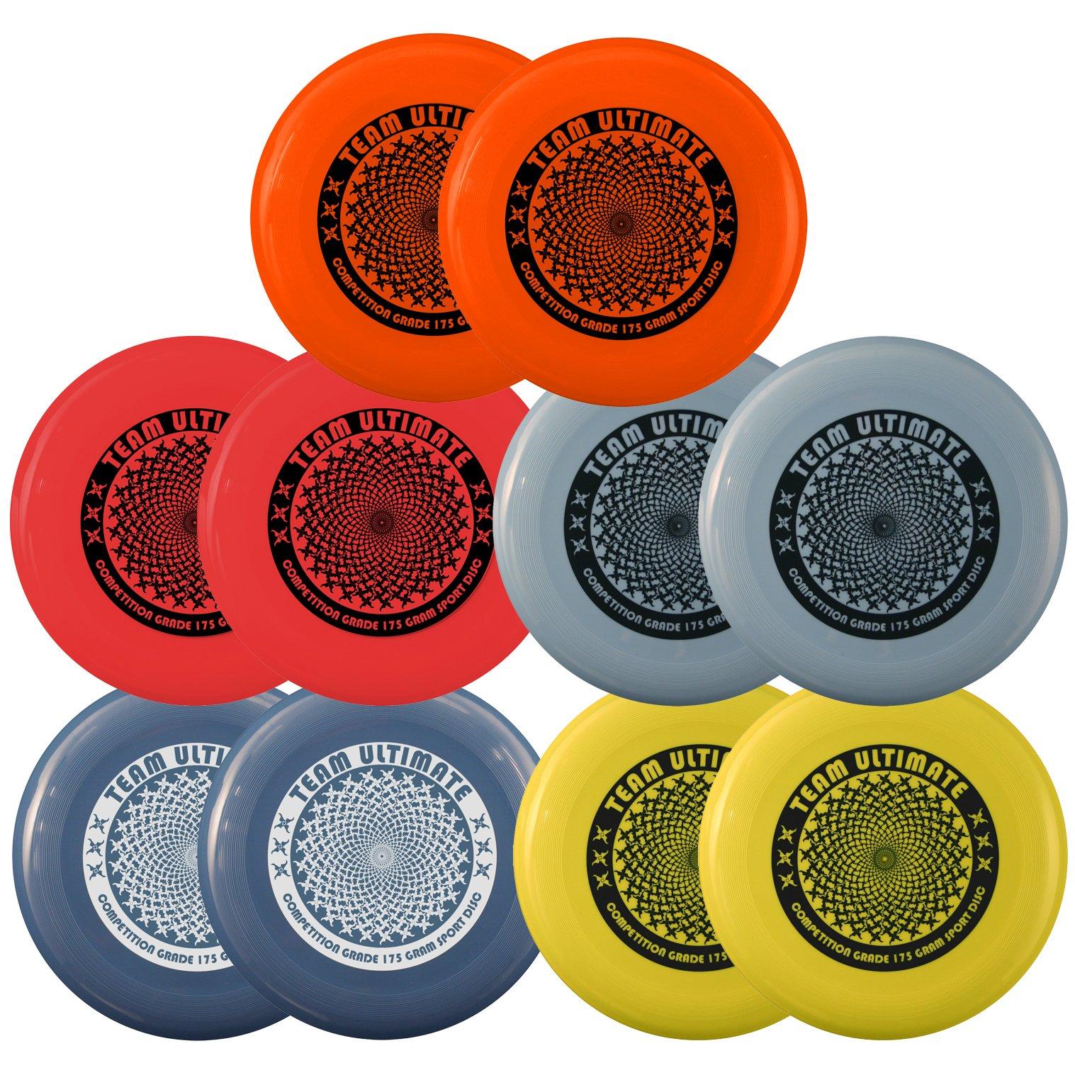 Pack of 10 Da Vinci Team Ultimate 175 Gram, 10.75 Inch Flying Sport Discs, 5 Colors