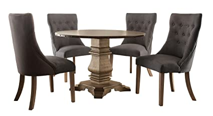 Homelegance Anna Claire 5 Piece Dining Set Round Pedestal Dining Table And  4 Button Tufted