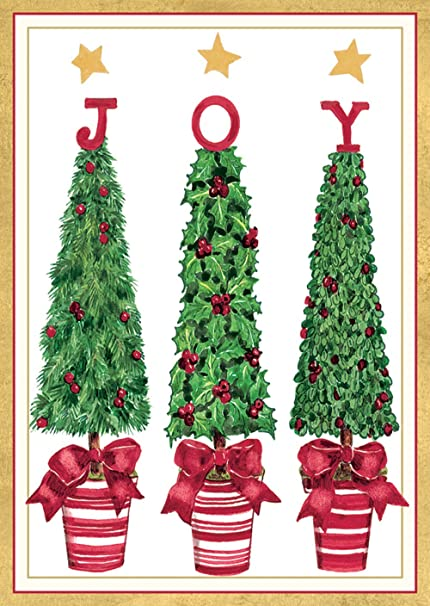 caspari holiday boxed note cards three topiaries design includes 20 cards and envelopes - Caspari Christmas Cards
