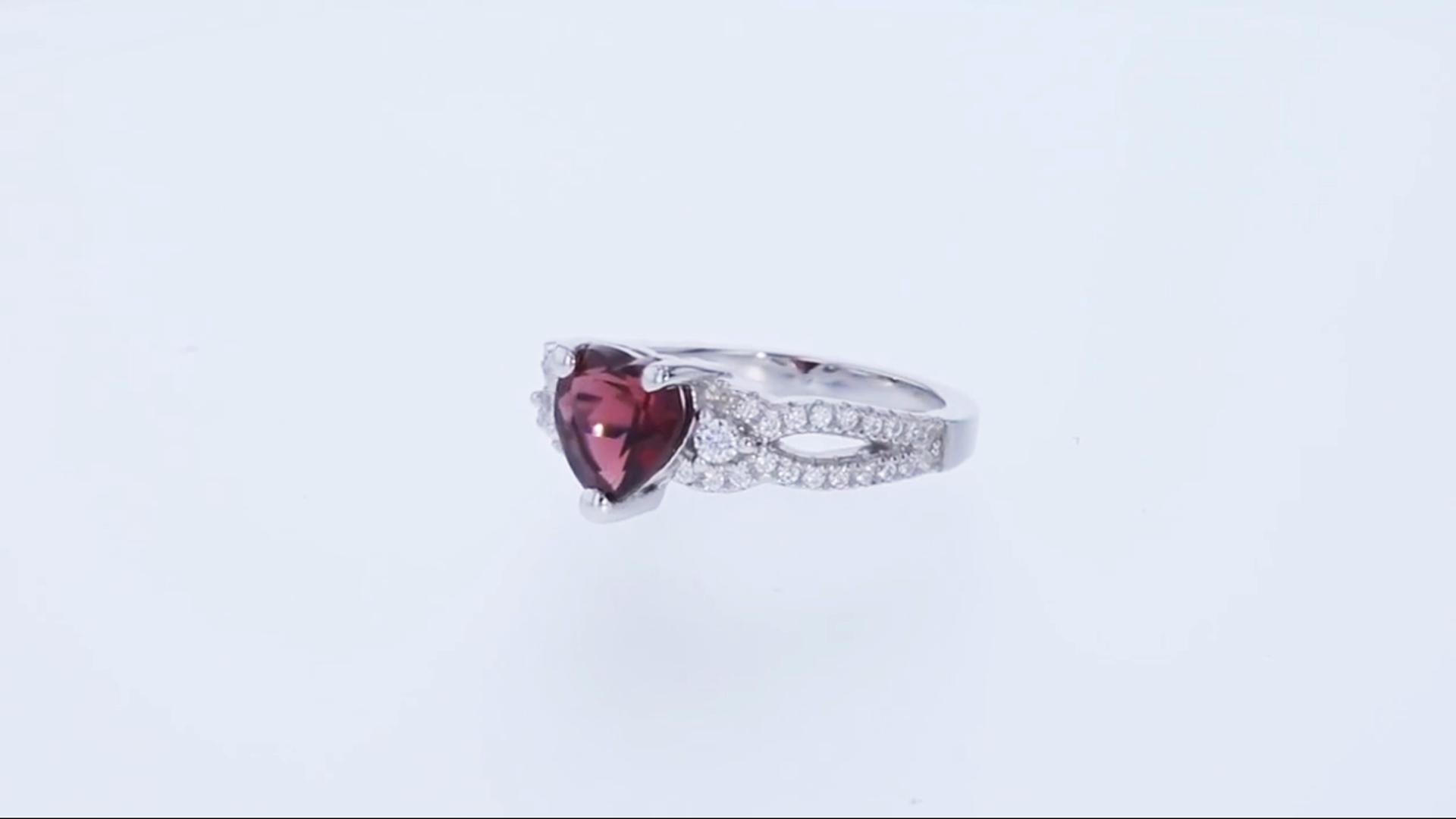 c542823af2ef5 Garnet Sterling Silver Heart Soulmate Ring Size 9
