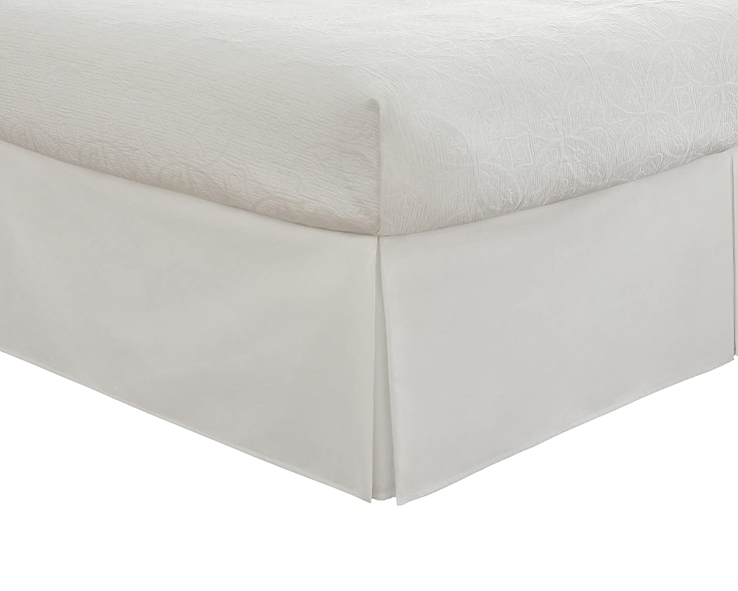 """Fresh Ideas Bedding Tailored Bedskirt, Classic 14"""" Drop Length, Pleated Styling, King, White"""