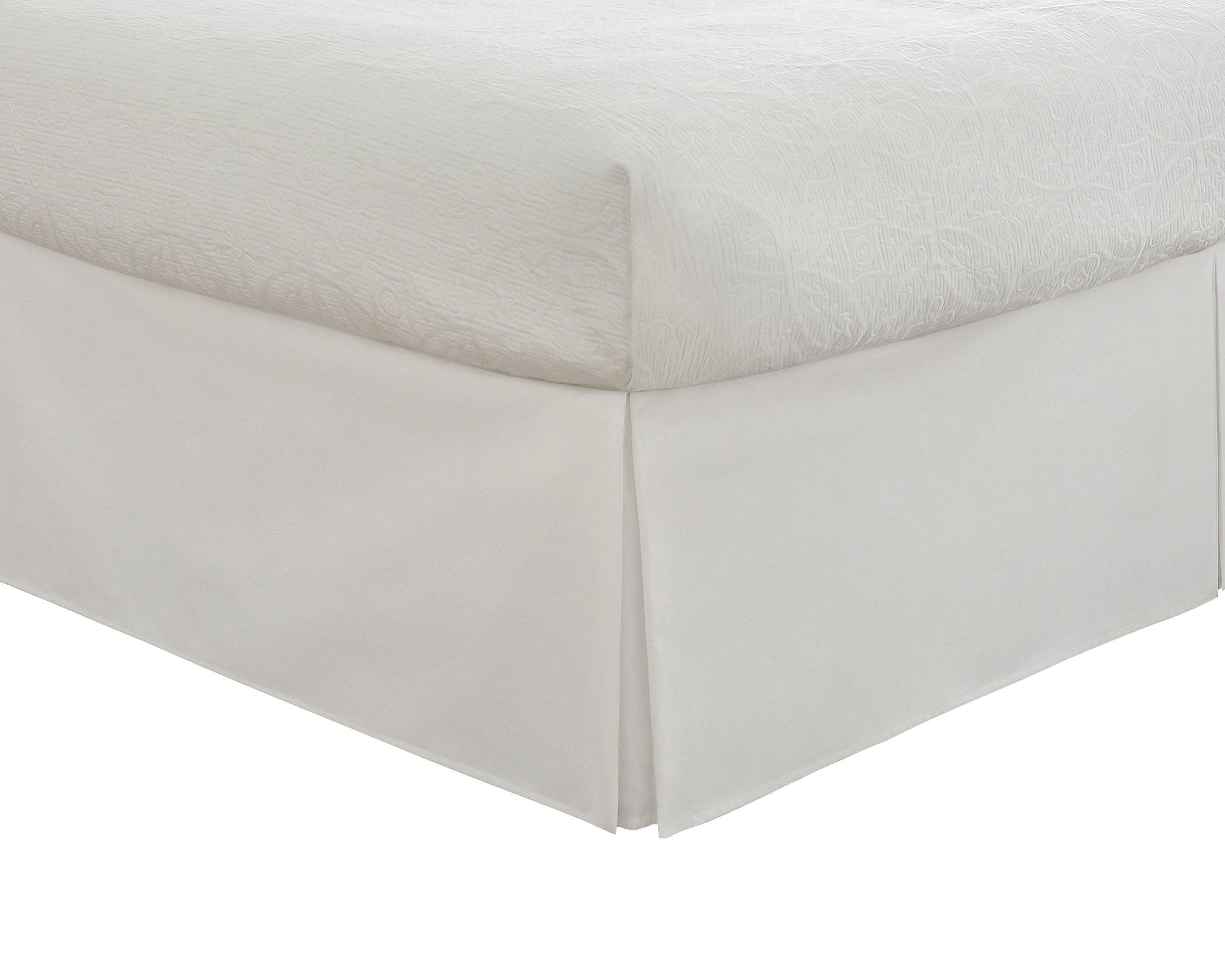 Fresh Ideas Tailored Poplin Bedskirt 14-Inch Drop Twin, White