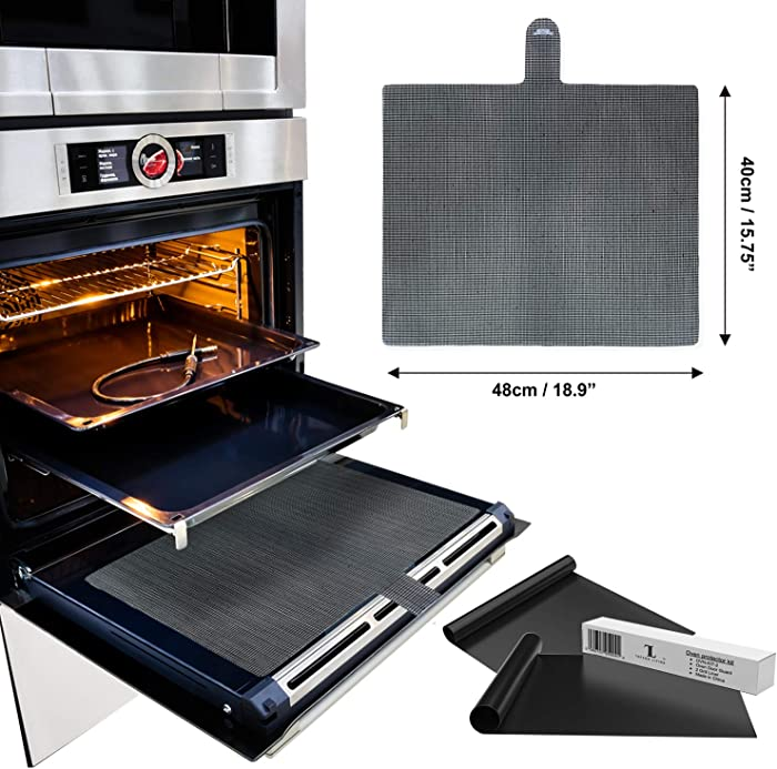Universal Silicone Oven Door Mesh Splash Guard Shield Complete with 2 Premium Non Stick Oven BBQ Liners, Heavy Duty, Reusable, Barbecue Grill Cooker Liner Protector Sheets