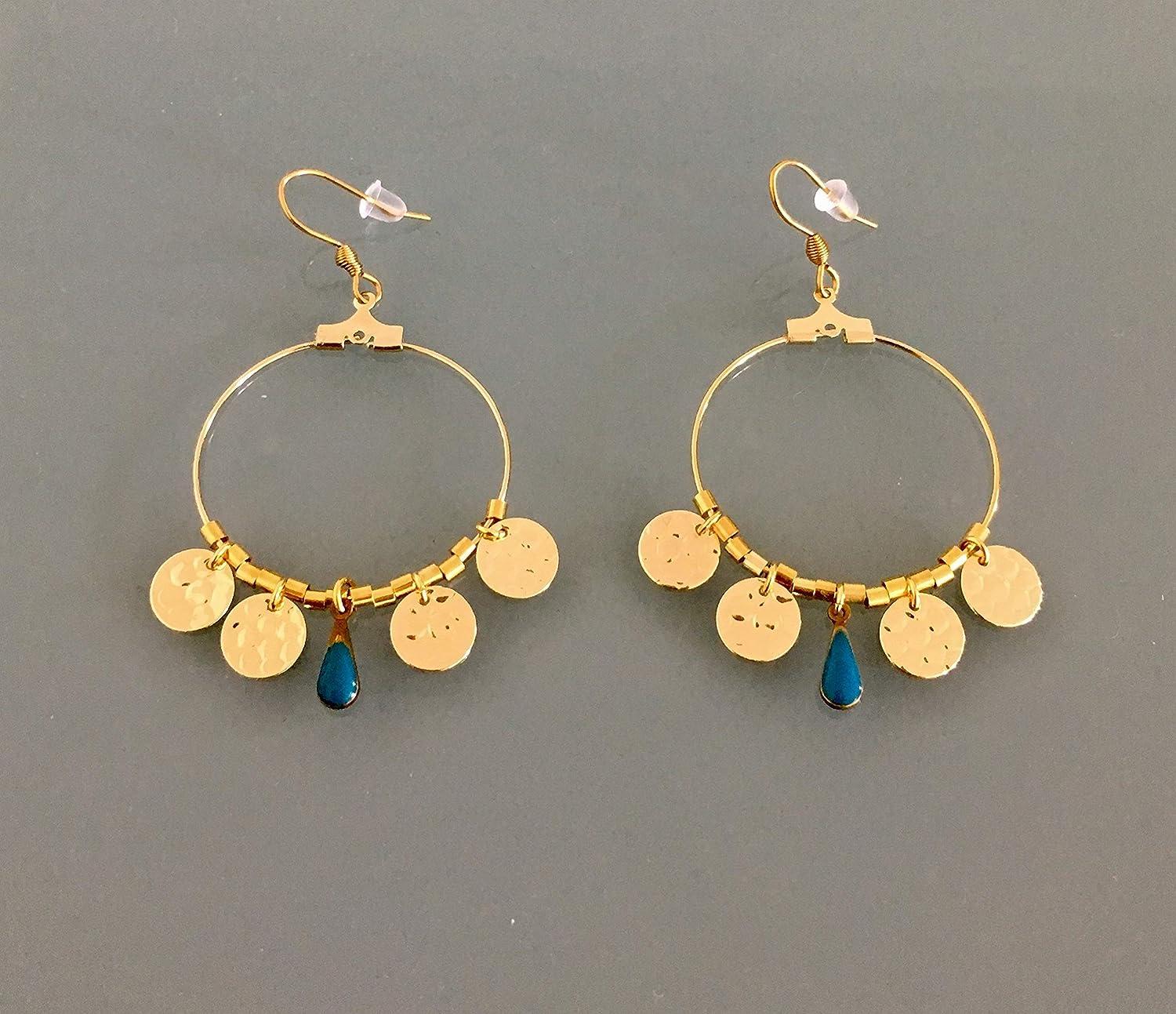 Goldene kreolische Ohrringe, Creolen mit Anhänger und Steinen, goldene Ringe, Goldschmuck, Frauen Geschenk, Geschenk Schmuck