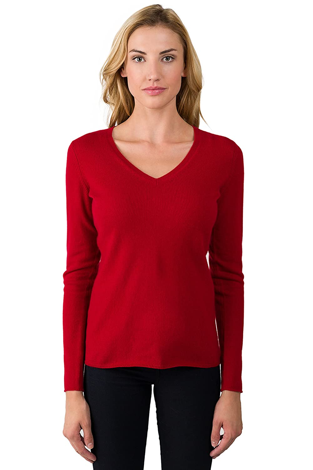 JENNIE LIU Women's 100% Pure Cashmere Long Sleeve Pullover V Neck Sweater F10816