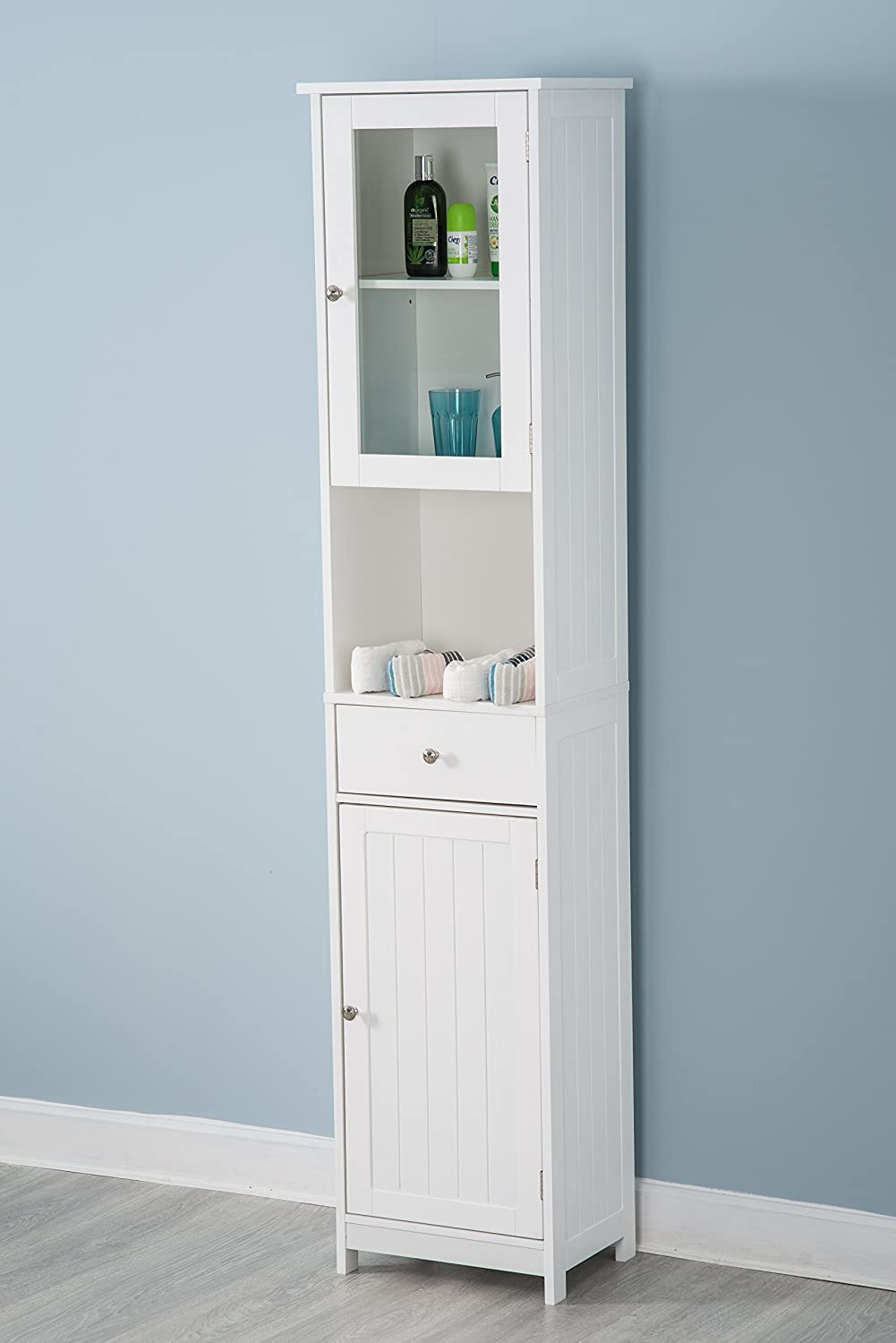 YAKOE Tall Bathroom Storage Unit Wood Tallboy Cabinet Cupboard ...