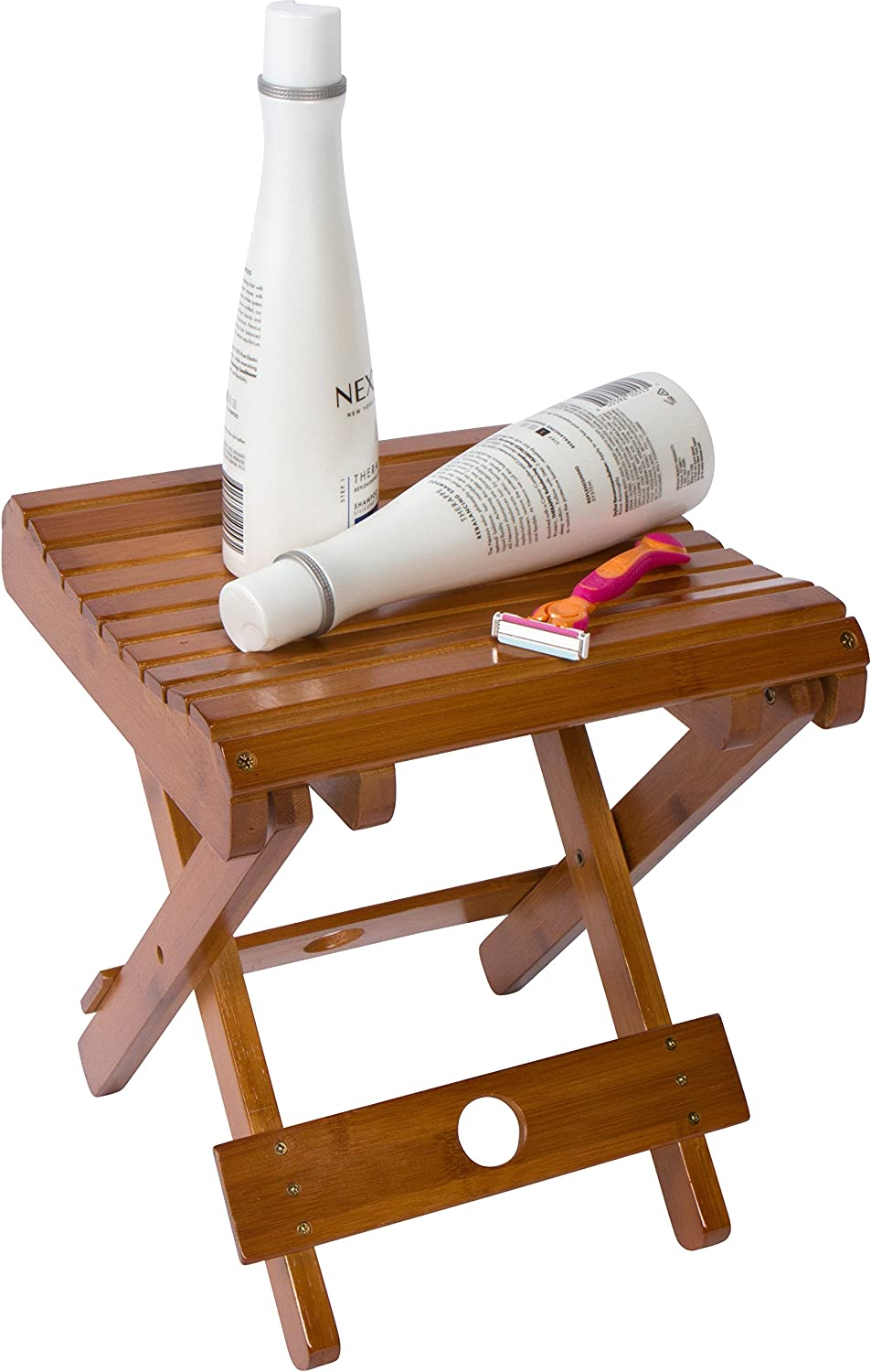 """Trademark Innovations 10.8"""" H Bamboo Folding Stool for Shaving Shower and Footrest (Single Set), Brown"""