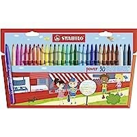 Feutre de coloriage - STABILO power - Étui carton de 30 feutres pointe moyenne - Coloris assortis
