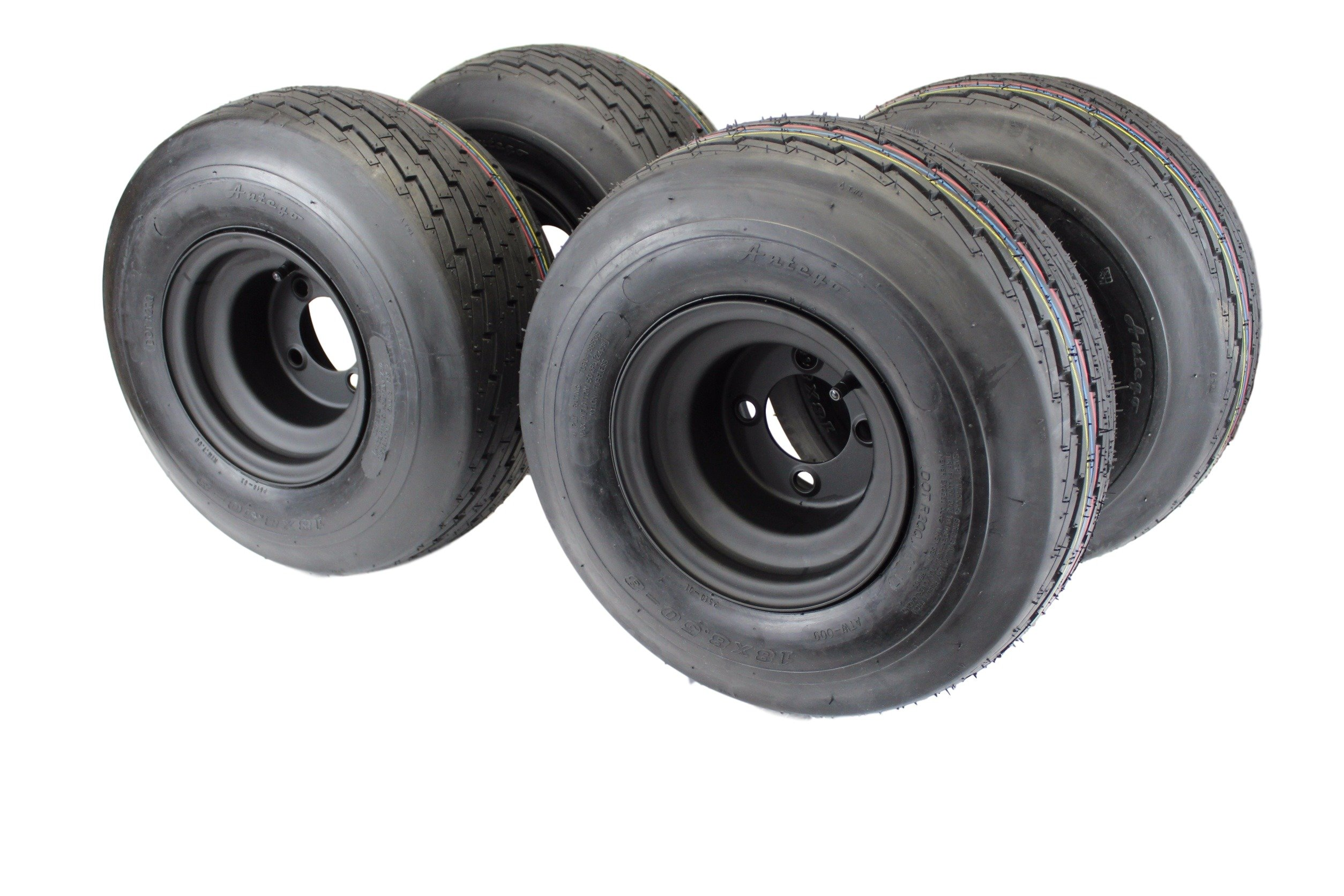 18x8.50-8 with 8x7 Matte Black Wheel Assembly for Golf Cart & Lawn Mower (Set of 4)
